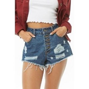 Forever 21 Button Fly Distressed Denim Shorts